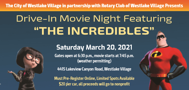 Drive-In Movie Night Featuring The Incredibles, March 20, 2021 $20 per car